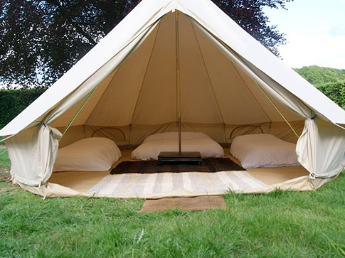 Bell tents, stretch tents and marquees for hire.