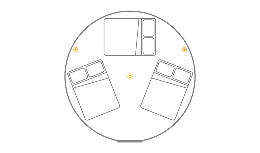 16ft yurt layout - 3 x double
