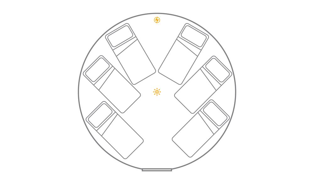 16ft yurt layout - 6 x single