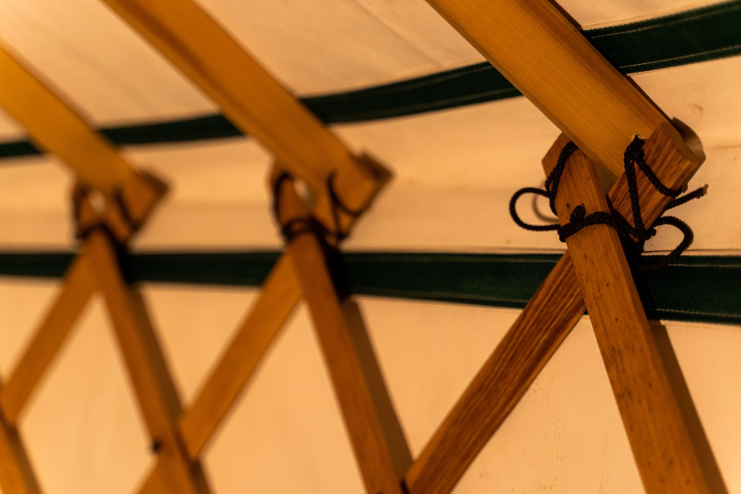 Handmade wooden yurt frame